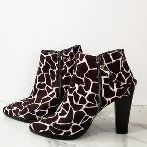 Stuart Weitzman Giraffe-Print Double Zip Booties